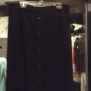 Elie Tahari, long black wool skirt, A line, nwt